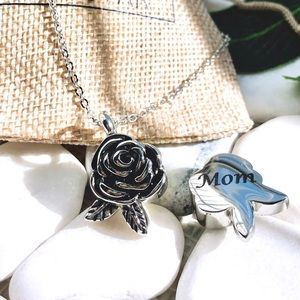 Jewelry - Rose urn Flower ashes cremation memories necklace